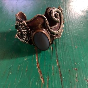 Artisan mixed metal steampunk  cuff bracelet